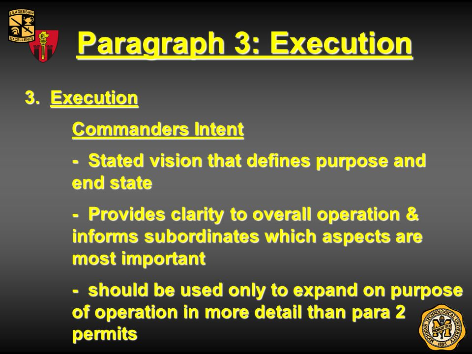 Paragraph 3: Execution 3. Execution Commanders Intent - Stated vision that defines purpose and end state - Provides clarity to overall operation & inf