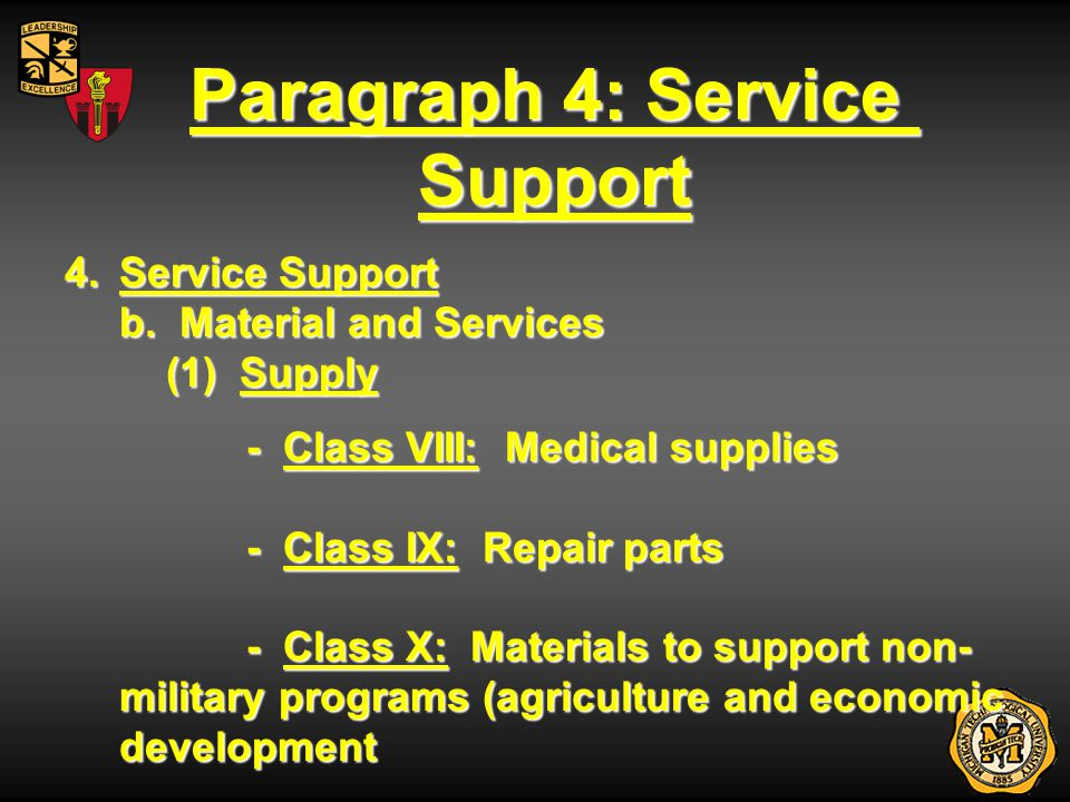 Paragraph 4: Service Support 4.Service Support b. Material and Services (1) Supply - Class VIII: Medical supplies - Class IX: Repair parts - Class X: