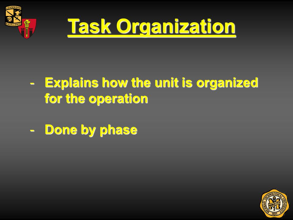 Paragraph 1: Situation 1.Situation - Provides information essential to subordinate leaders understanding of the mission a.