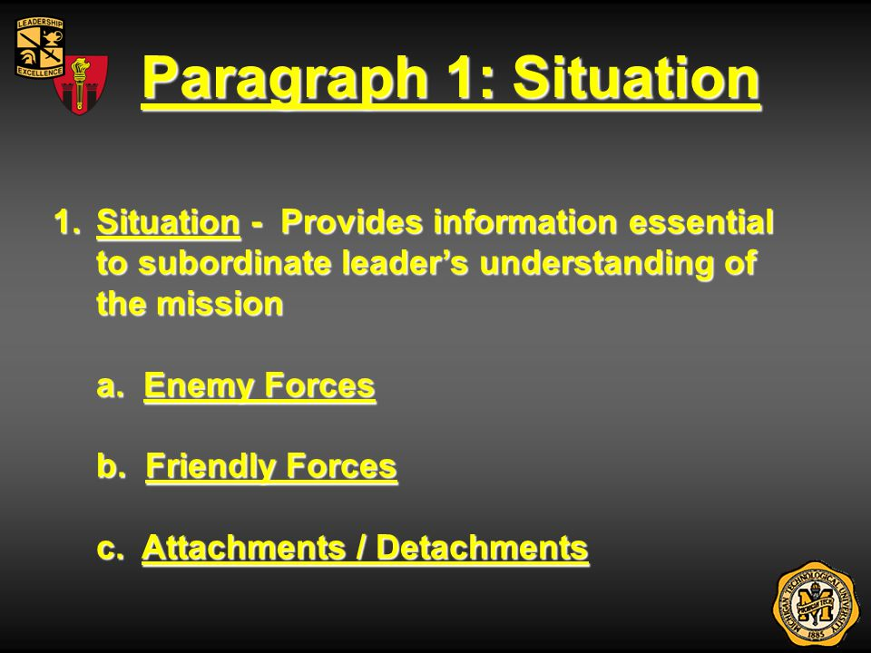 Paragraph 1: Situation 1.Situation - Provides information essential to subordinate leaders understanding of the mission a. Enemy Forces b. Friendly Fo
