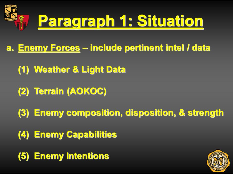 Enemy Forces: Weather a.Enemy Forces (1) Weather & Light Data - advantages / disadvantages to friendly & enemy, impact on mission (a) Precipitation (a) Precipitation (b) Temperature (b) Temperature (c) Other Weather Conditions (wind, dust, fog) (c) Other Weather Conditions (wind, dust, fog) (d) Light Data (d) Light Data BMNT:__________Sunrise:_________ BMNT:__________Sunrise:_________ Sunset:_________EENT:___________ Sunset:_________EENT:___________ Moonrise:_______Moonset:________ Moonrise:_______Moonset:________ Percent Illum:___________ Percent Illum:___________