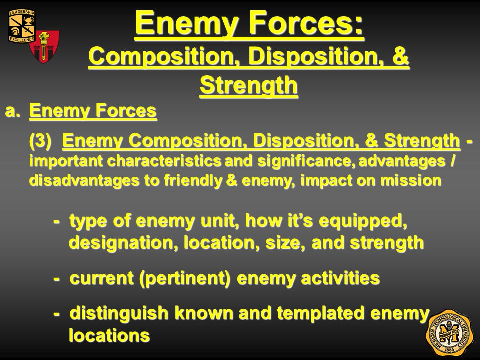 Enemy Forces: Capabilities a.Enemy Forces (4) Enemy Capabilities – combat capability - range and orientation of direct / indirect fires - counter-attack forces - reserves - NBC - mobility / countermobility - ability to reposition