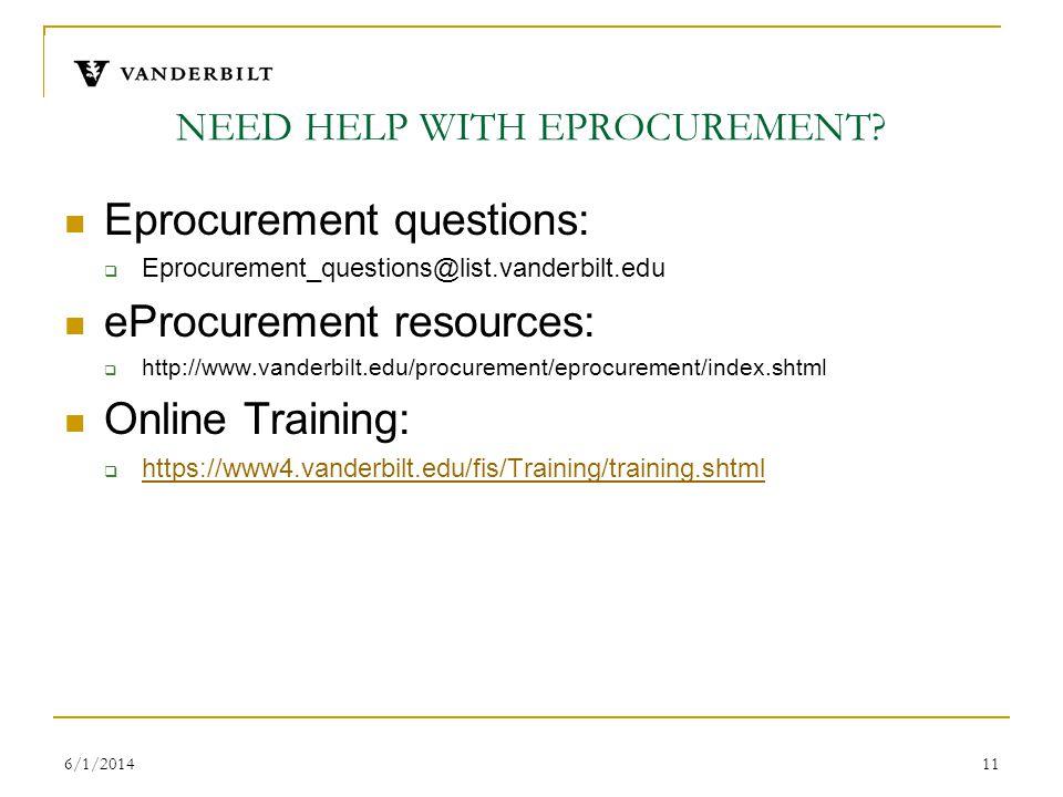 6/1/201411 NEED HELP WITH EPROCUREMENT? Eprocurement questions: Eprocurement_questions@list.vanderbilt.edu eProcurement resources: http://www.vanderbi