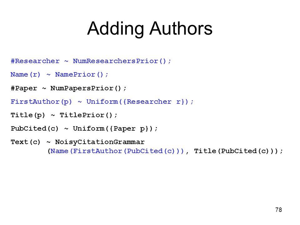 78 Adding Authors #Researcher ~ NumResearchersPrior(); Name(r) ~ NamePrior(); #Paper ~ NumPapersPrior(); FirstAuthor(p) ~ Uniform({Researcher r}); Title(p) ~ TitlePrior(); PubCited(c) ~ Uniform({Paper p}); Text(c) ~ NoisyCitationGrammar (Name(FirstAuthor(PubCited(c))), Title(PubCited(c)));