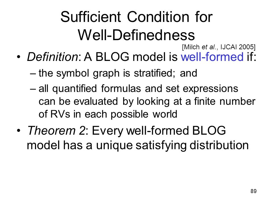 89 Sufficient Condition for Well-Definedness Definition: A BLOG model is well-formed if: –the symbol graph is stratified; and –all quantified formulas