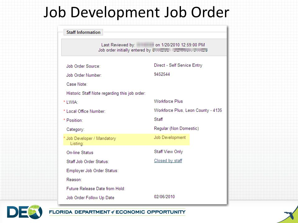 Job Development Job Order