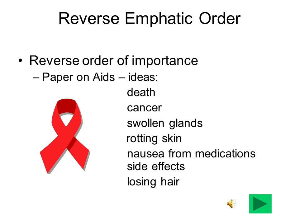 Reverse Emphatic Order Reverse order of importance –Paper on Aids – ideas: death cancer swollen glands rotting skin nausea from medications side effec