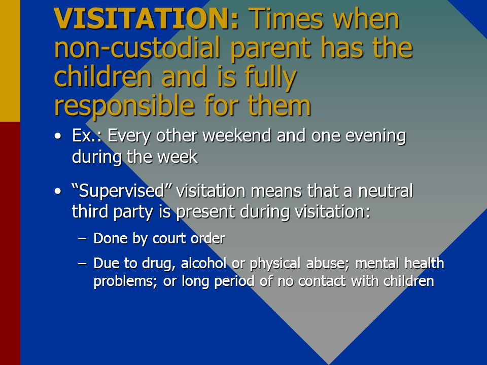 VISITATION: Times when non-custodial parent has the children and is fully responsible for them Ex.: Every other weekend and one evening during the weekEx.: Every other weekend and one evening during the week Supervised visitation means that a neutral third party is present during visitation:Supervised visitation means that a neutral third party is present during visitation: –Done by court order –Due to drug, alcohol or physical abuse; mental health problems; or long period of no contact with children