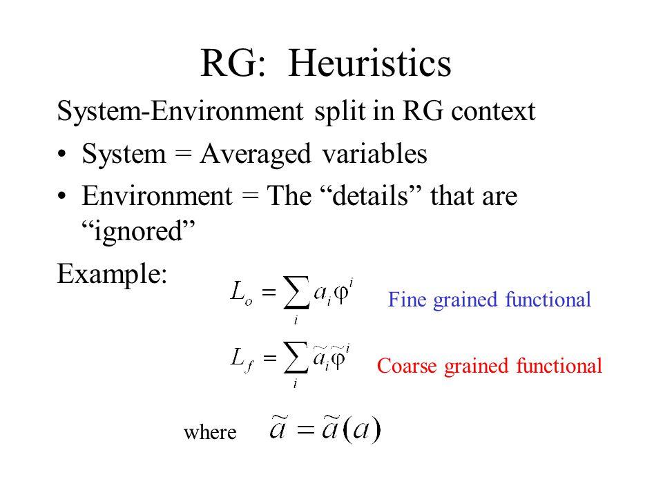 RG: In a picture fine grained coarse grained Coarse Grained Variables = averaged variables