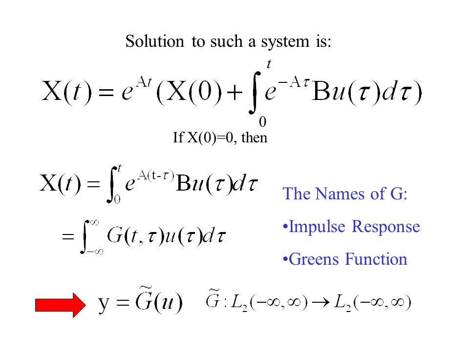 A Control Theory Tutorial: Linear Systems X = The internal state of the system y = The output u = The input A = Determines the internal dynamics of the system B = Determines which states get externally excited C = Determines what quantities are measured