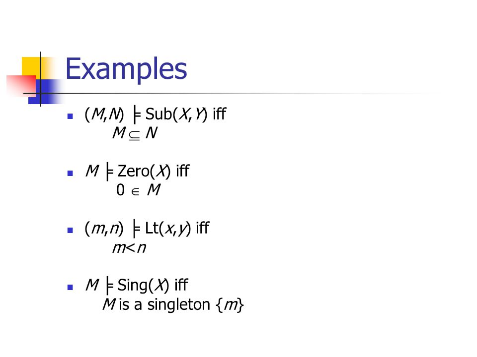 Examples (M,N) Sub(X,Y) iff M N M Zero(X) iff 0 M (m,n) Lt(x,y) iff m<n M Sing(X) iff M is a singleton {m}