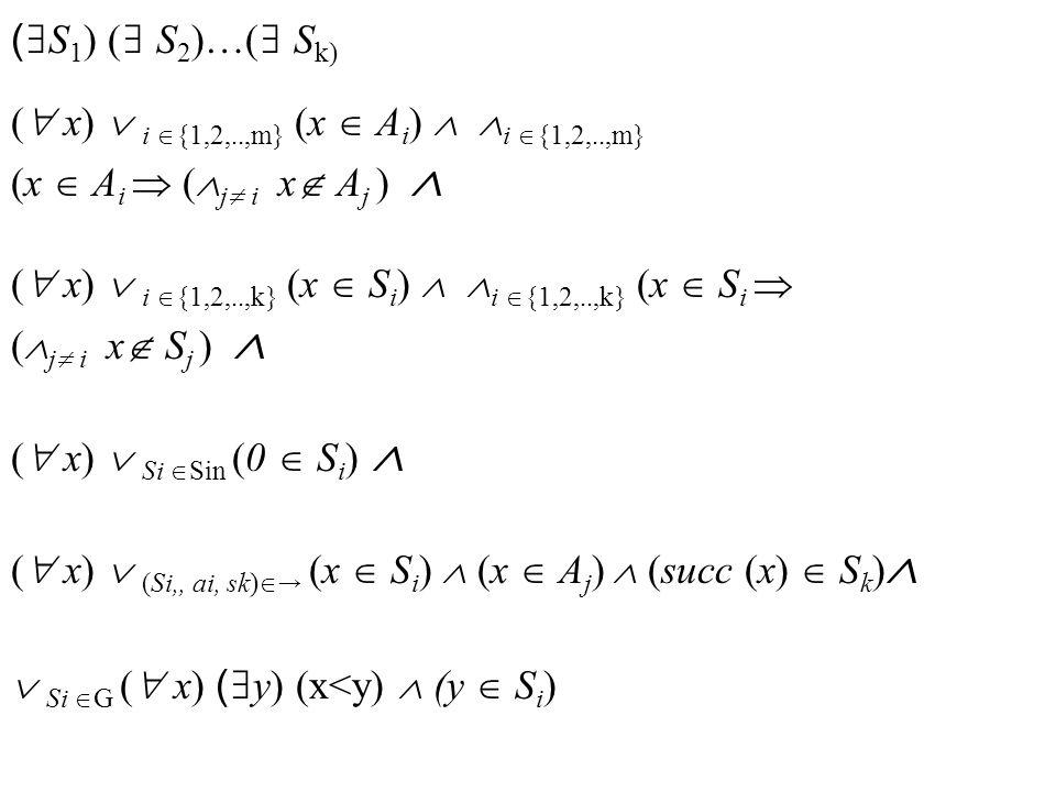 ( S 1 ) ( S 2 )…( S k) ( x) i {1,2,..,m} (x A i ) i {1,2,..,m} (x A i ( j i x A j ) ( x) i {1,2,..,k} (x S i ) i {1,2,..,k} (x S i ( j i x S j ) ( x) Si Sin (0 S i ) ( x) (Si,, ai, sk) (x S i ) (x A j ) (succ (x) S k ) Si G ( x) ( y) (x<y) (y S i )