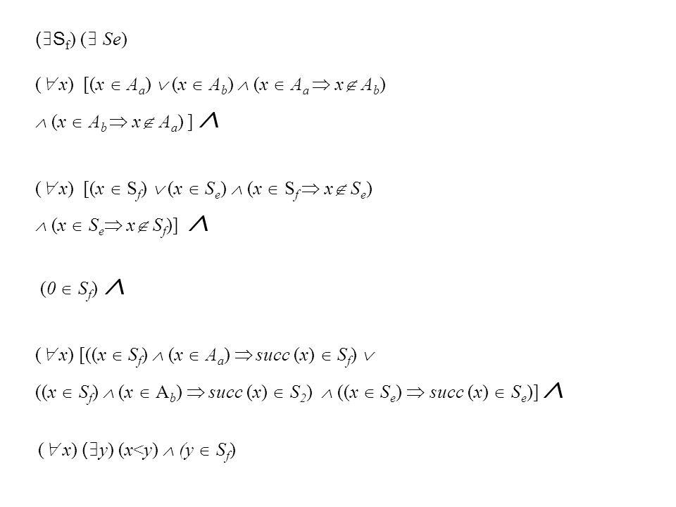 ( S f ) ( Se) ( x) [(x A a ) (x A b ) (x A a x A b ) (x A b x A a ) ] ( x) [(x S f ) (x S e ) (x S f x S e ) (x S e x S f )] (0 S f ) ( x) [((x S f ) (x A a ) succ (x) S f ) ((x S f ) (x A b ) succ (x) S 2 ) ((x S e ) succ (x) S e )] ( x) ( y) (x<y) (y S f )