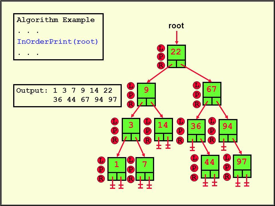 Algorithm Example... InOrderPrint(root)... 22 root 6736314447949719 Output: 1 3 7 9 14 22 36 44 67 94 97 L P R L P R L P R L P R L P R L P R L P R L P