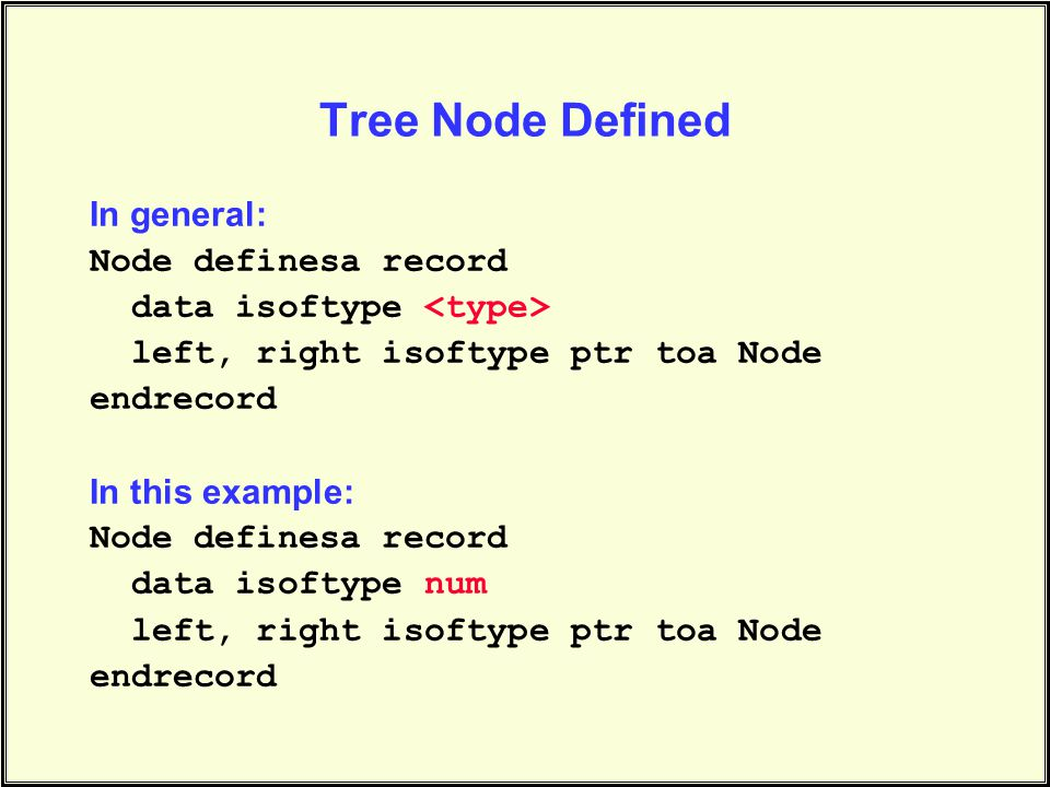Tree Node Defined In general: Node definesa record data isoftype left, right isoftype ptr toa Node endrecord In this example: Node definesa record data isoftype num left, right isoftype ptr toa Node endrecord