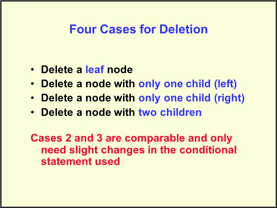 Four Cases for Deletion Delete a leaf node Delete a node with only one child (left) Delete a node with only one child (right) Delete a node with two children Cases 2 and 3 are comparable and only need slight changes in the conditional statement used