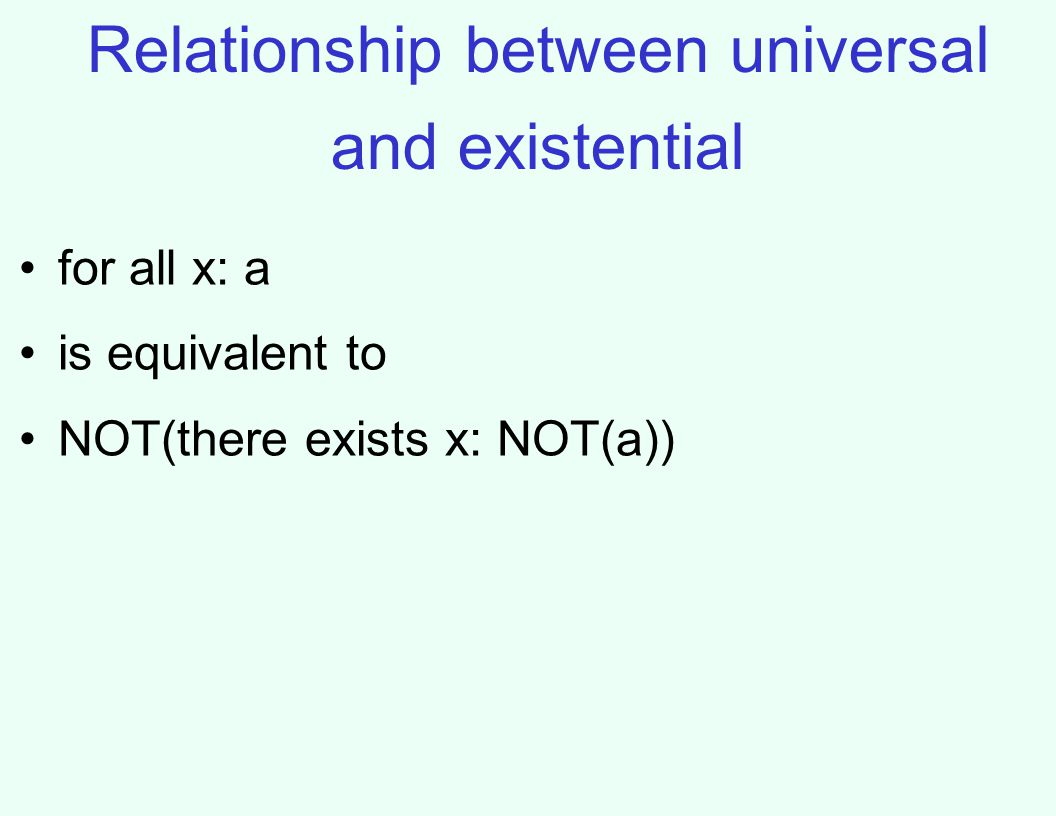 Relationship between universal and existential for all x: a is equivalent to NOT(there exists x: NOT(a))