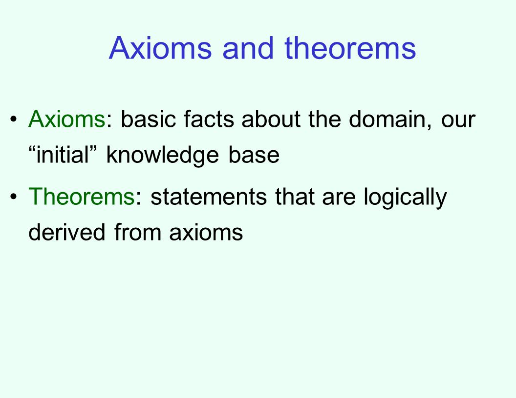 Axioms and theorems Axioms: basic facts about the domain, our initial knowledge base Theorems: statements that are logically derived from axioms
