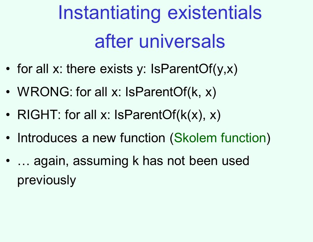 Instantiating existentials after universals for all x: there exists y: IsParentOf(y,x) WRONG: for all x: IsParentOf(k, x) RIGHT: for all x: IsParentOf(k(x), x) Introduces a new function (Skolem function) … again, assuming k has not been used previously