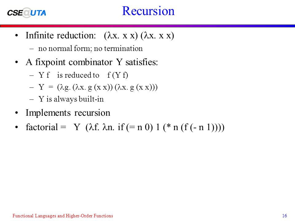 Functional Languages and Higher-Order Functions16 Recursion Infinite reduction: ( x.
