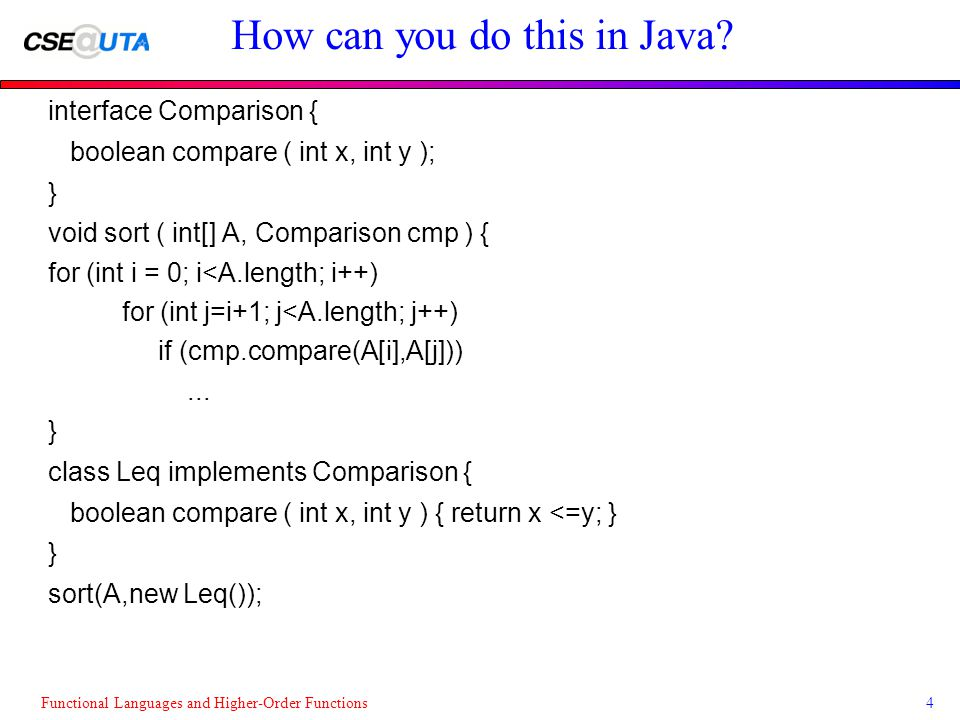 Functional Languages and Higher-Order Functions4 How can you do this in Java.