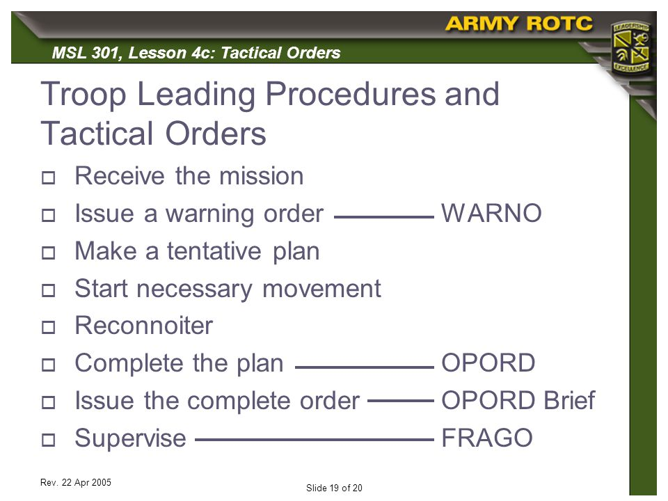MSL 301, Lesson 4c: Tactical Orders Rev. 22 Apr 2005 Slide 19 of 20 Troop Leading Procedures and Tactical Orders Receive the mission Issue a warning o