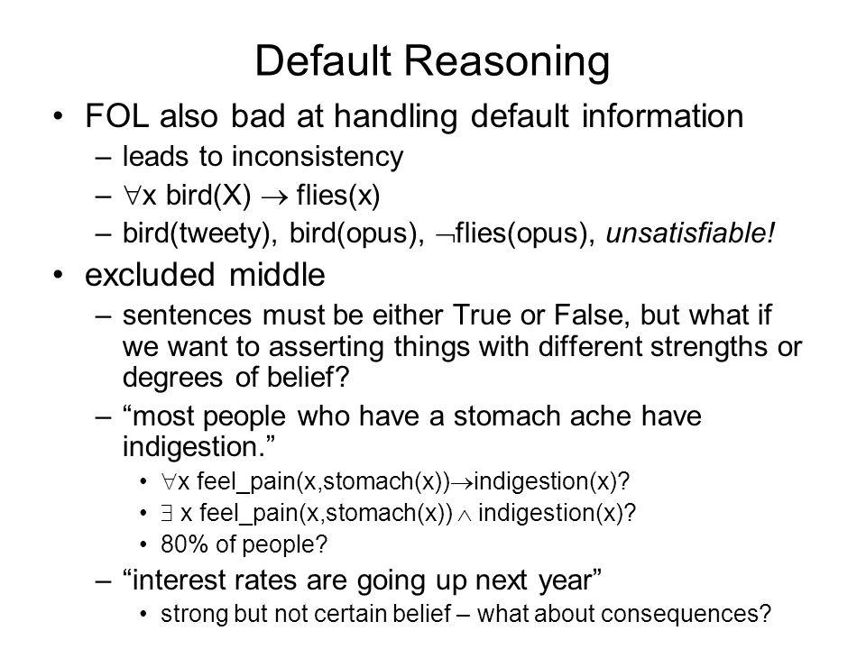 Default Reasoning FOL also bad at handling default information –leads to inconsistency – x bird(X) flies(x) –bird(tweety), bird(opus), flies(opus), unsatisfiable.