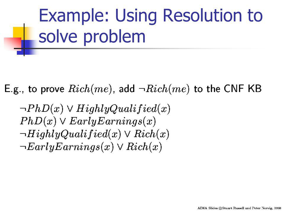 Example: Using Resolution to solve problem
