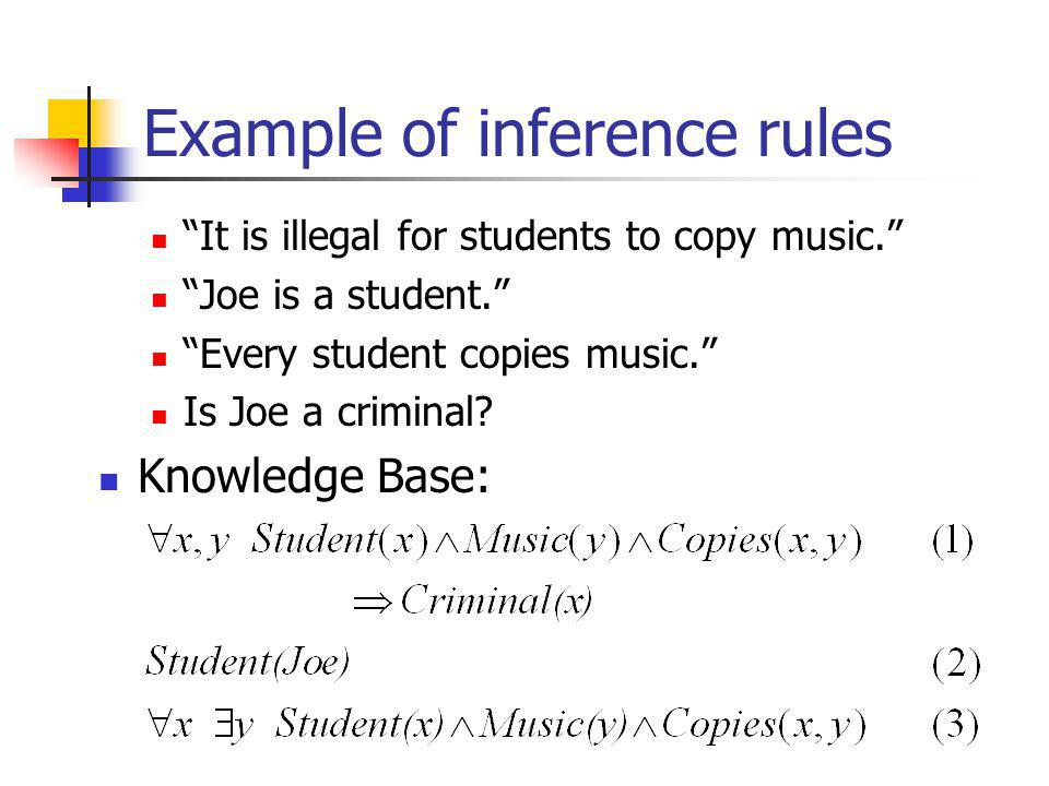 Example of inference rules It is illegal for students to copy music. Joe is a student. Every student copies music. Is Joe a criminal? Knowledge Base: