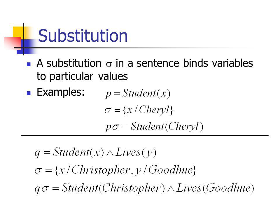 Substitution A substitution in a sentence binds variables to particular values Examples: