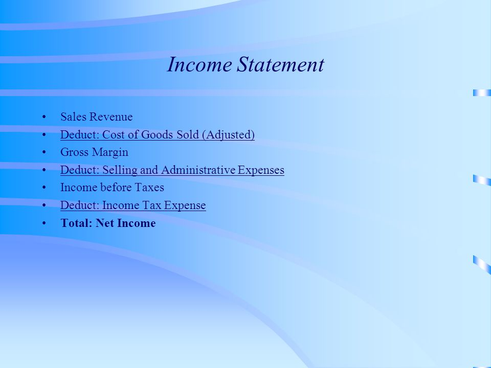 Income Statement Sales Revenue Deduct: Cost of Goods Sold (Adjusted) Gross Margin Deduct: Selling and Administrative Expenses Income before Taxes Dedu