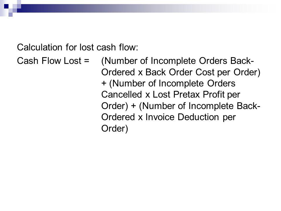 Calculation for lost cash flow: Cash Flow Lost = (Number of Incomplete Orders Back- Ordered x Back Order Cost per Order) + (Number of Incomplete Order