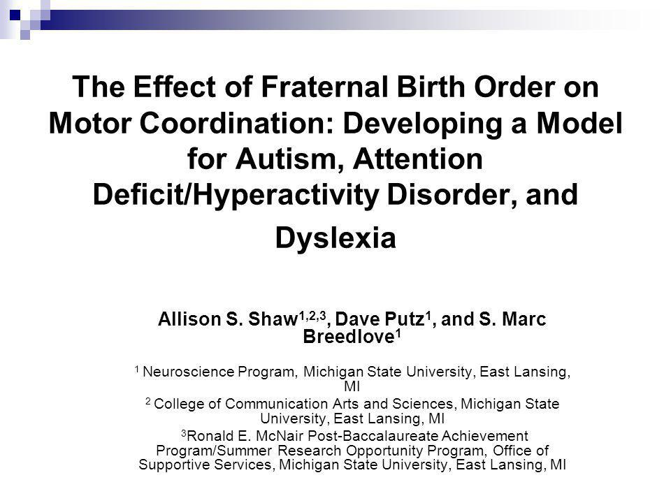 The Effect of Fraternal Birth Order on Motor Coordination: Developing a Model for Autism, Attention Deficit/Hyperactivity Disorder, and Dyslexia Allis