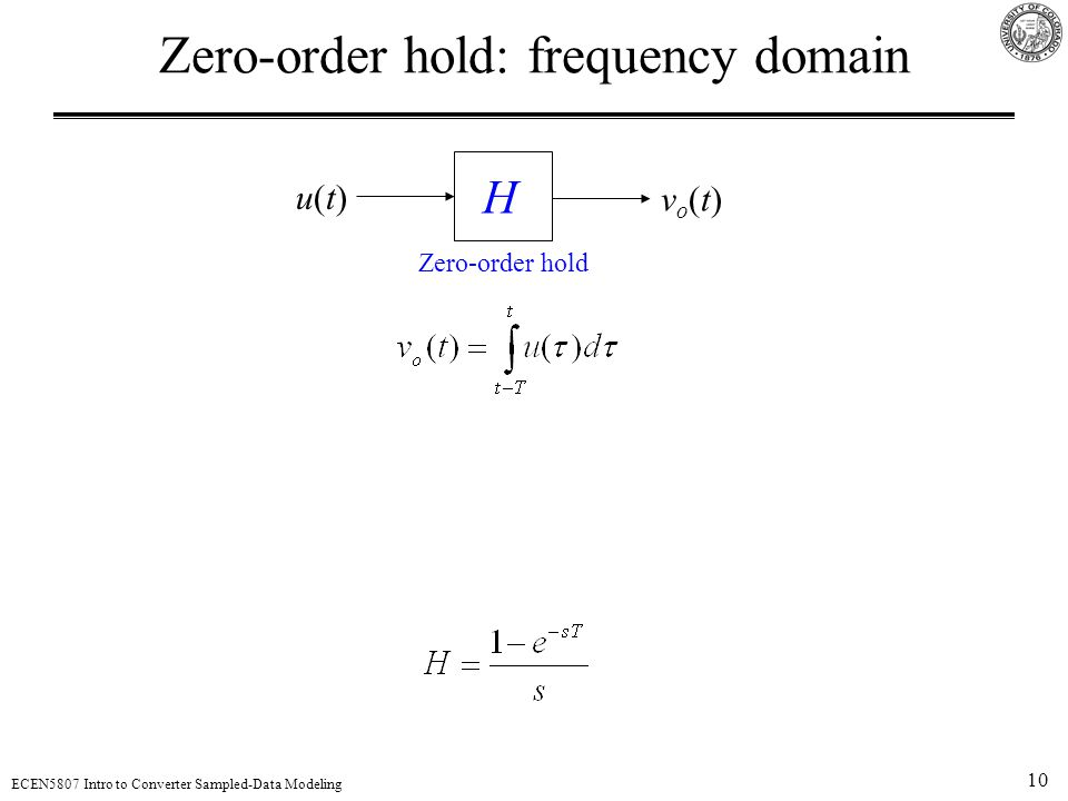 10 ECEN5807 Intro to Converter Sampled-Data Modeling Zero-order hold: frequency domain vo(t)vo(t) H Zero-order hold u(t)u(t)