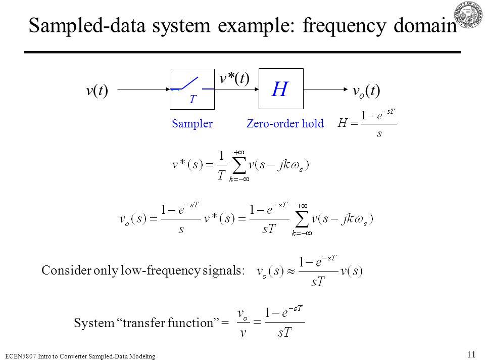 11 ECEN5807 Intro to Converter Sampled-Data Modeling Sampled-data system example: frequency domain v(t)v(t)vo(t)vo(t) v*(t) H SamplerZero-order hold T