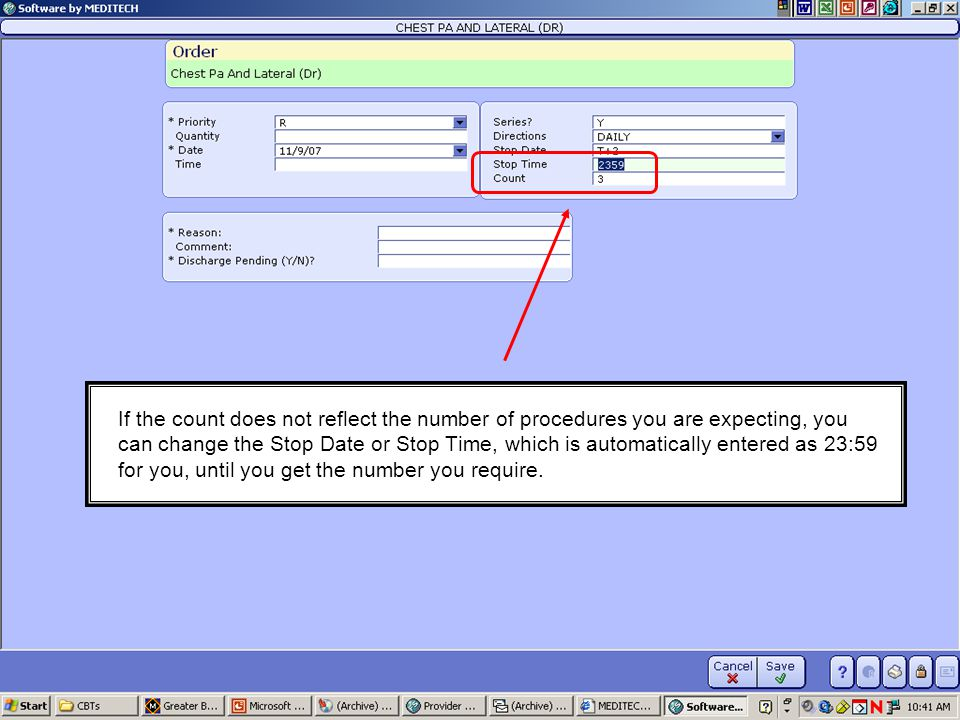 If the count does not reflect the number of procedures you are expecting, you can change the Stop Date or Stop Time, which is automatically entered as