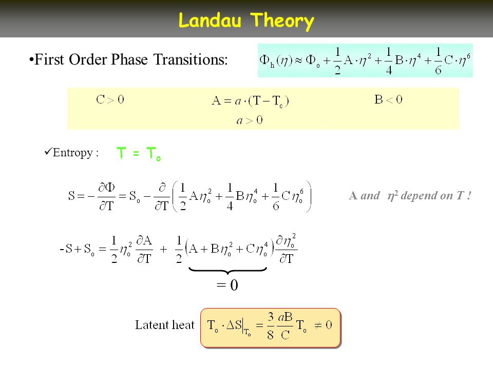 First Order Phase Transitions: Landau Theory Entropy : T = T o A and 2 depend on T ! = 0
