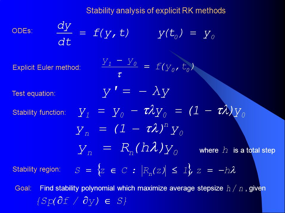 Stability analysis of explicit RK methods Explicit Euler method: Stability condition of explicit Euler method: Linear stability analysis for non-linear ODEs: where Linear stability RK methods vs.