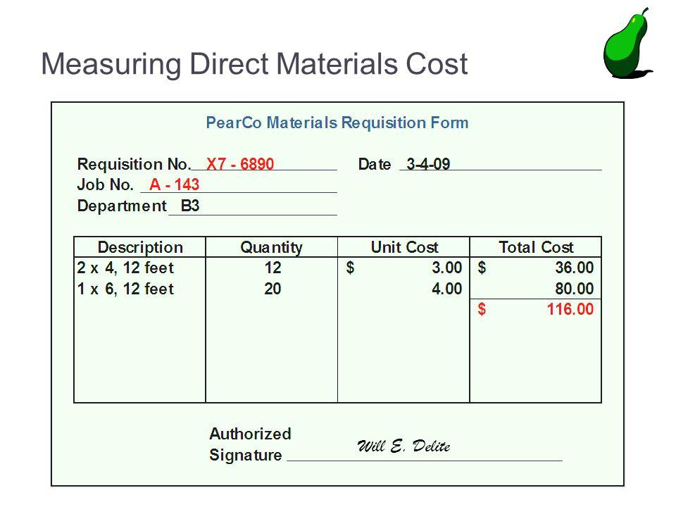 Measuring Direct Materials Cost Will E. Delite