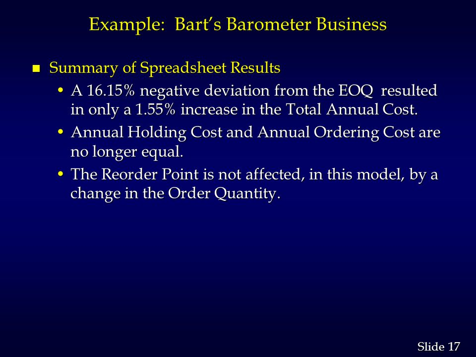 17 Slide Example: Barts Barometer Business n Summary of Spreadsheet Results A 16.15% negative deviation from the EOQ resulted in only a 1.55% increase in the Total Annual Cost.A 16.15% negative deviation from the EOQ resulted in only a 1.55% increase in the Total Annual Cost.