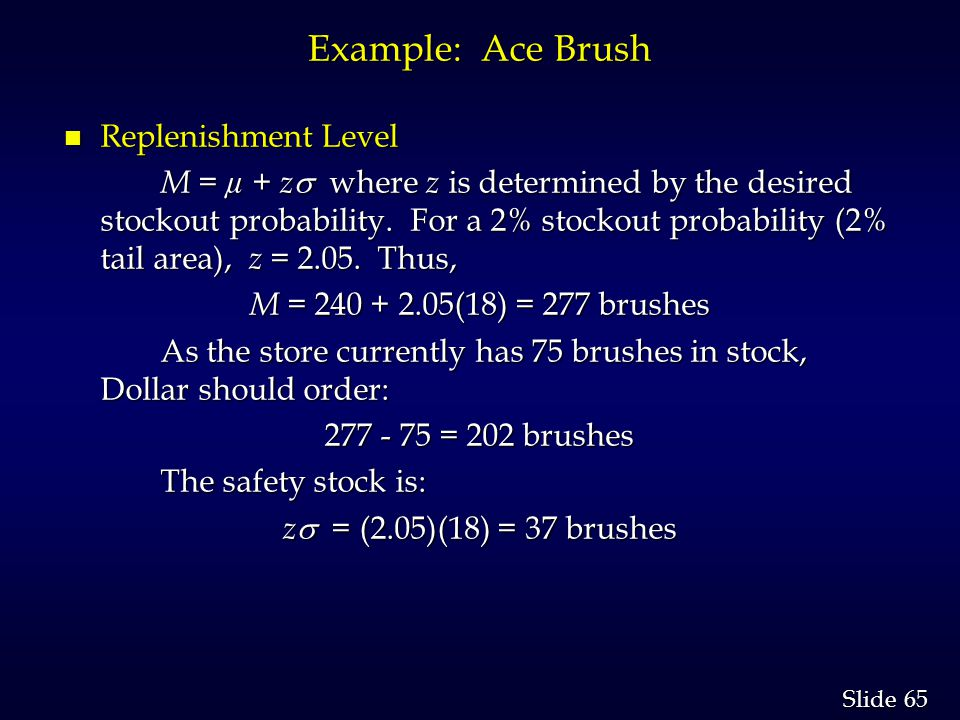 65 Slide Example: Ace Brush n Replenishment Level M = µ + z where z is determined by the desired stockout probability.