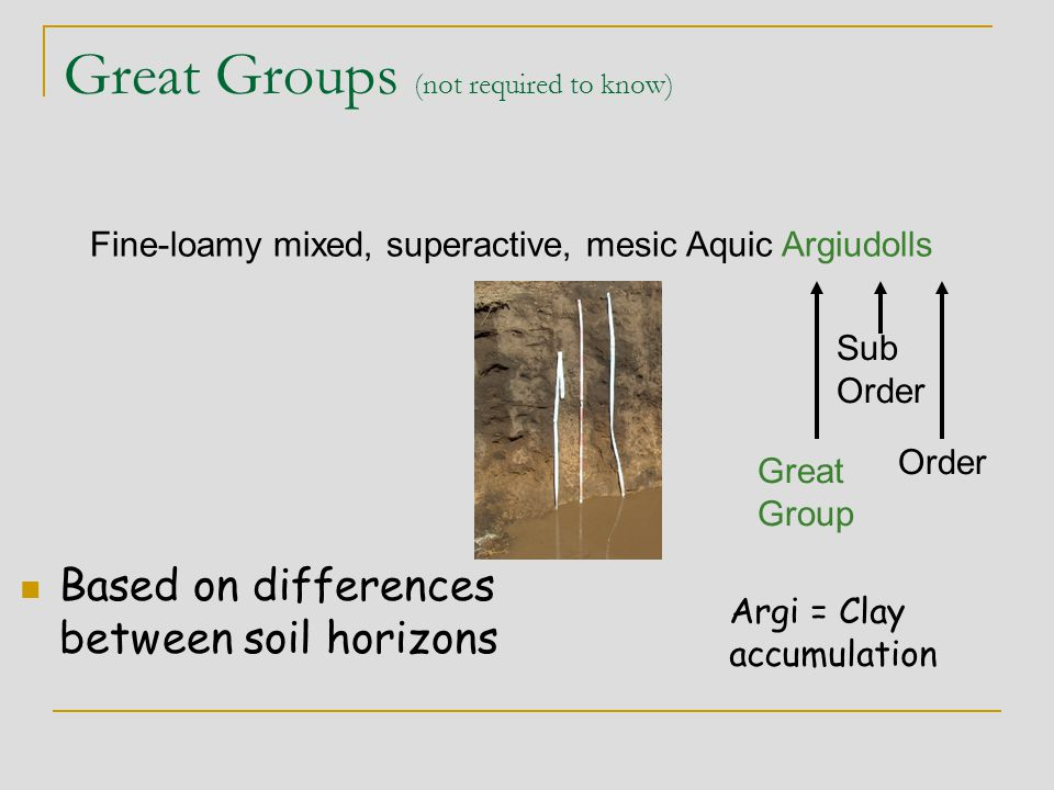 Great Groups (not required to know) Based on differences between soil horizons Fine-loamy mixed, superactive, mesic Aquic Argiudolls Great Group Sub O
