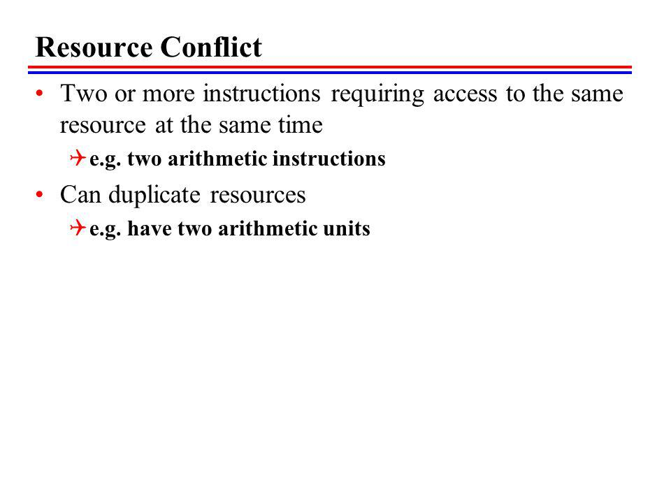 Resource Conflict Two or more instructions requiring access to the same resource at the same time e.g. two arithmetic instructions Can duplicate resou
