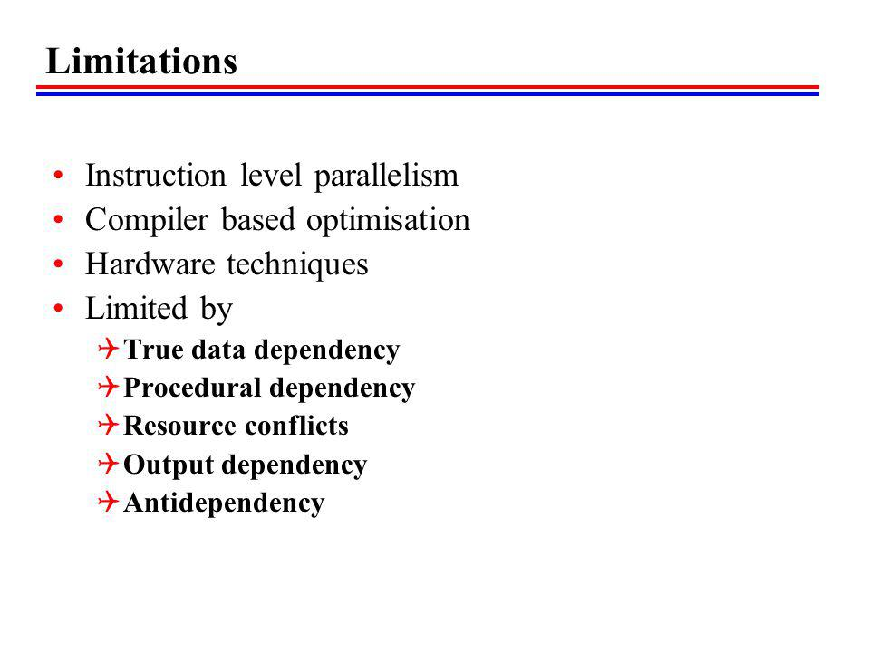 Limitations Instruction level parallelism Compiler based optimisation Hardware techniques Limited by True data dependency Procedural dependency Resour