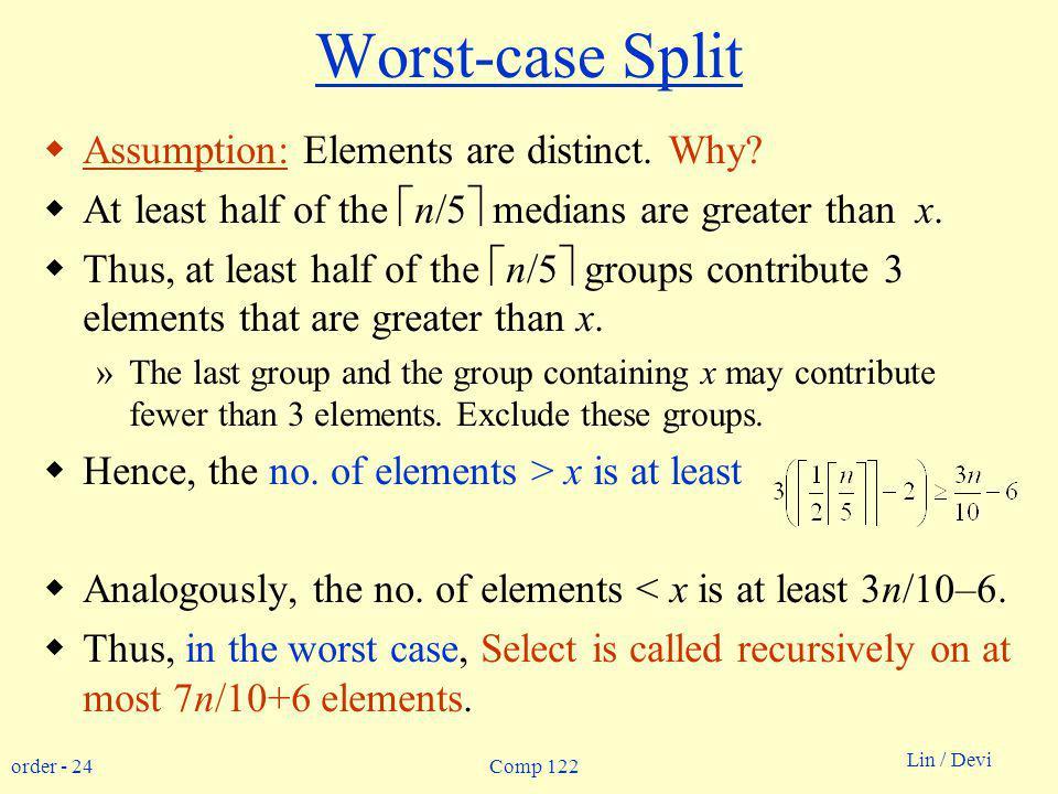 order - 24 Lin / Devi Comp 122 Worst-case Split Assumption: Elements are distinct.