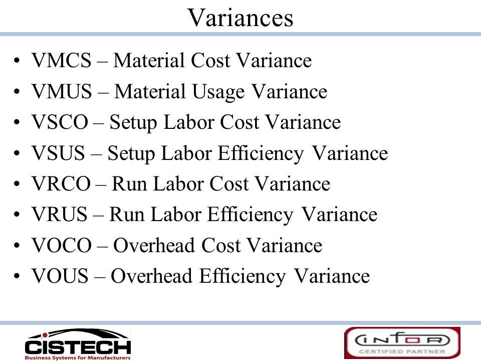 Variances VMCS – Material Cost Variance VMUS – Material Usage Variance VSCO – Setup Labor Cost Variance VSUS – Setup Labor Efficiency Variance VRCO –