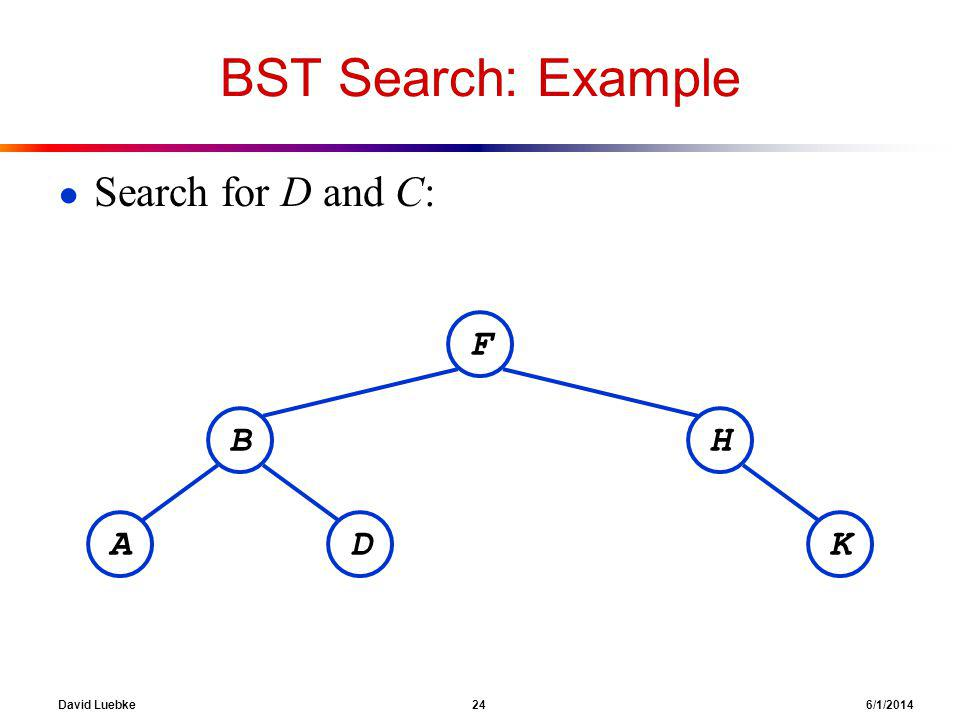 David Luebke 24 6/1/2014 BST Search: Example Search for D and C: F BH KDA