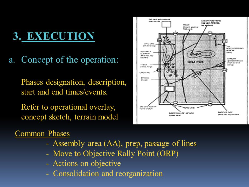 3. EXECUTION a.Concept of the operation: Phases designation, description, start and end times/events. Refer to operational overlay, concept sketch, te