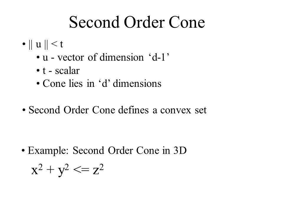 Second Order Cone || u || < t u - vector of dimension d-1 t - scalar Cone lies in d dimensions Second Order Cone defines a convex set Example: Second Order Cone in 3D x 2 + y 2 <= z 2