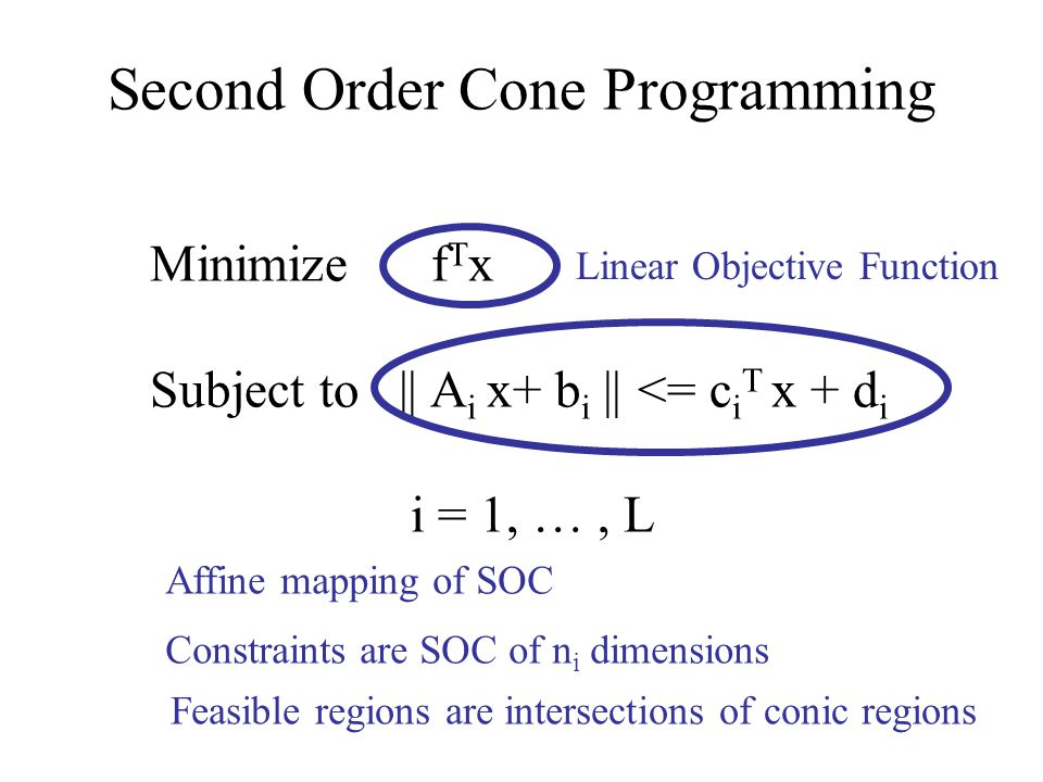 Second Order Cone Programming Minimize f T x Subject to || A i x+ b i || <= c i T x + d i i = 1, …, L Linear Objective Function Affine mapping of SOC
